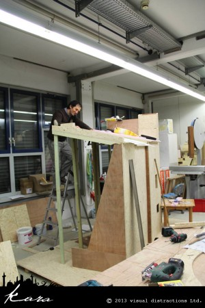 Pablo Pinkus working on the wooden construction